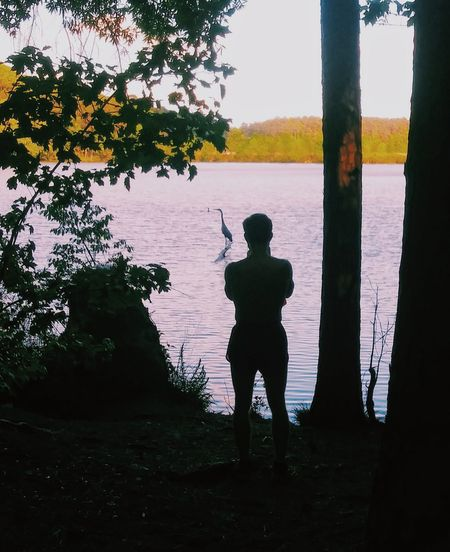 Silhouette person standing by lake against sky