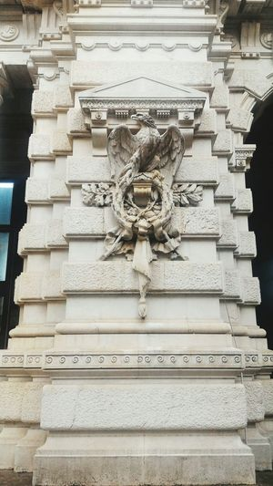 Aquila Savoia Roma Rome Eagle Aquila Marmo Marble Architecture No People Sculpture Built Structure Close-up Day Outdoors Italy Italia Black And White Column Cassazione Court Savoia  1800s Building Umbertino