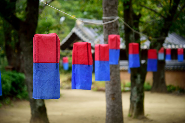 Cheongsachorong Red And Blue Silk Shade Traditional Koreanlantern