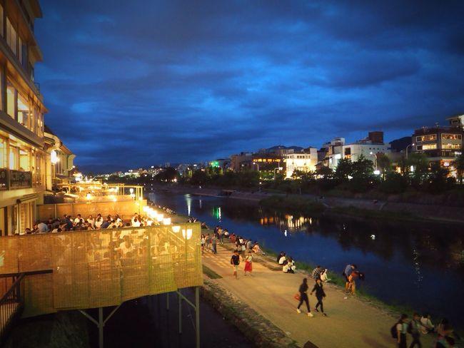Kyoto Japan Kawaramachi Kamogawa River Night Shijooohashi Bridge Today Olympus PEN-F 京都 日本 河原町 四条大橋 鴨川 夜 今日