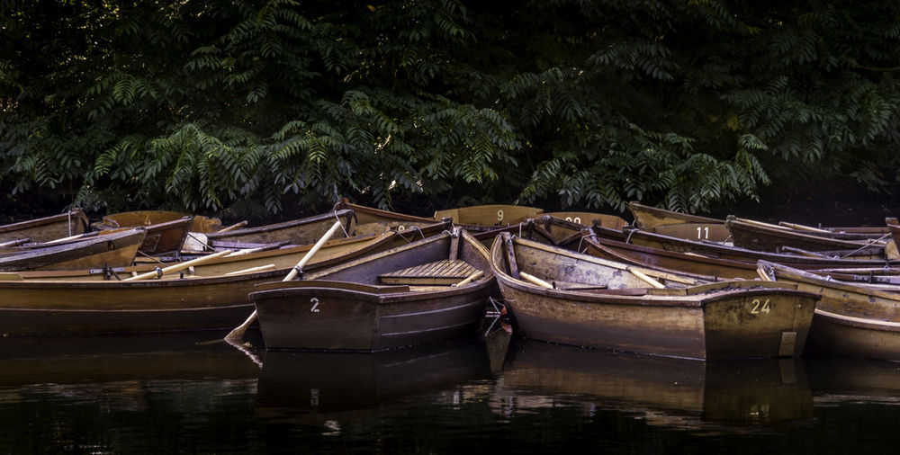 Close-up of boats in water