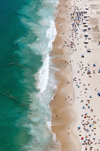 Copacabana Rio de Janeiro - RJ - Brasil. Beach Water High Angle View Sand Aquatic Sport Sea Aerial View Nature Wave Day Rio De Janeiro Brasil Brazil Summer Helicopter Travel Colors Canon Ocean Green Color People Photography Beauty Destination World