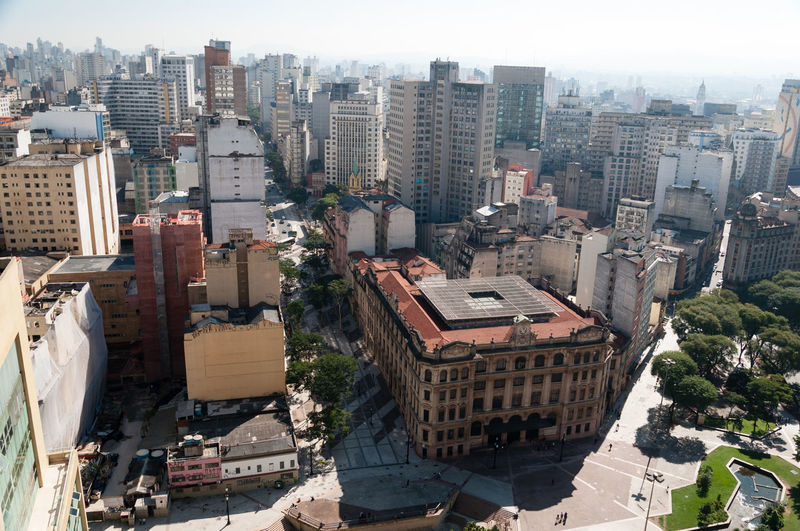 Aerial view of the city of sao paulo. Detail Anhangabau Valley and post office building. Anhangabau Valley Brazil City São Paulo Aerial View Anhangabau Architecture Building Exterior City City Life Cityscape cityscapes High Angle View Modern Outdoors Skyline Skyscraper Travel Destinations Urban Skyline