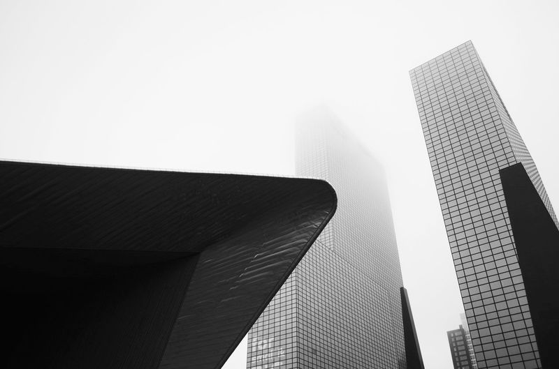 Faded city Big City Life Rotterdam Architecture Rotterdam Foggy Day Fog Architecture Built Structure Building Exterior Low Angle View Modern Skyscraper EyeEmNewHere Travel Destinations Day No People City Outdoors Sky