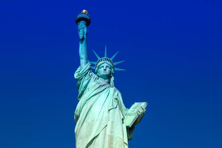 America Blue City Clear Sky Close-up Landscape Outdoors Sky Statue Statue Of Liberty Travel Destinations