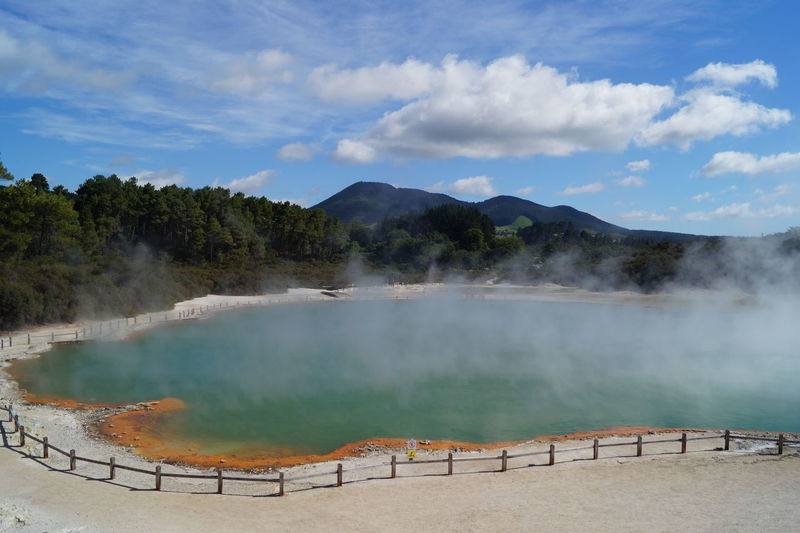 New Zealand Scenery New Zealand Landscape Rotorua  Waiotapu Thermal Wonderland Beauty In Nature Champagne Pool Cloud - Sky Geothermal  Geothermal Activity Heat - Temperature Hot Spring Mountain Nature New Zealand Scenics - Nature Smoke - Physical Structure Steam Thermal Waters Water