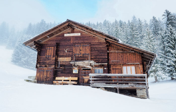 Winter Mountain Hut Alps Cold Temperature Forest Frozen Hike House Hut Landscape Mountain Nature No People Outdoors Scenics Shelter Snow Switzerland Winter Wood - Material Woods