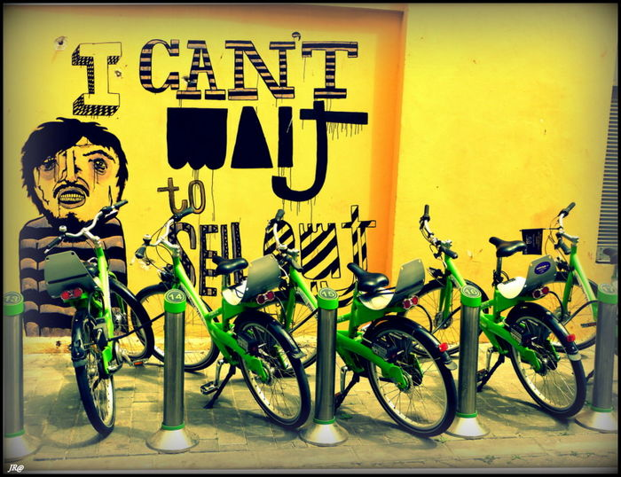 BIKES AND ART Bike Land Vehicle Mode Of Transport Outdoors Photography Street Street Art Streetphotography Wheel