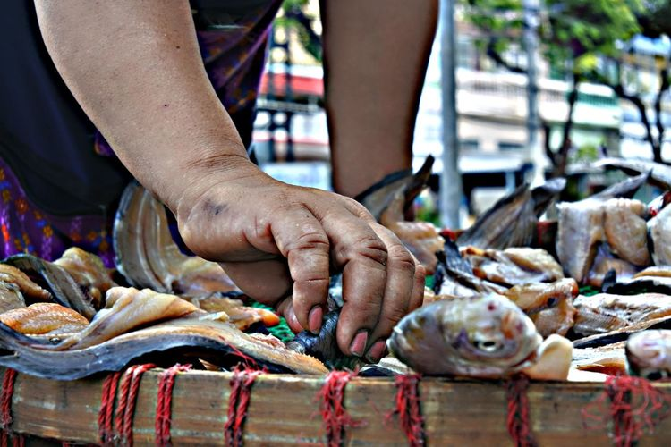 Midsection of woman arranging fish on market stall