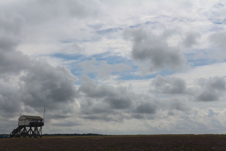 Storm clouds over landscape against sky