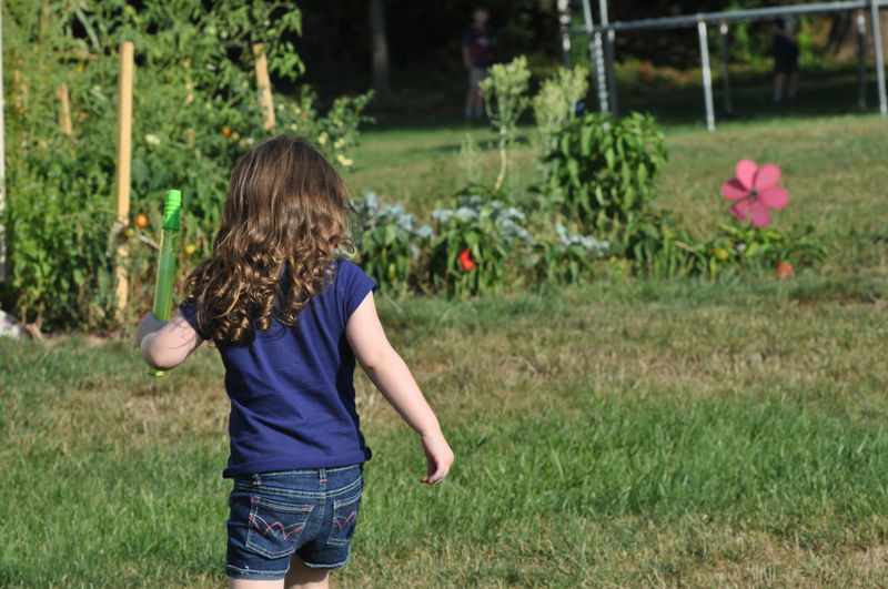 Young Girl Running Through a Yard Running Young Child Childhood Children Only Elementary Age Girl Nature One Girl Only One Person Outdoors Playing
