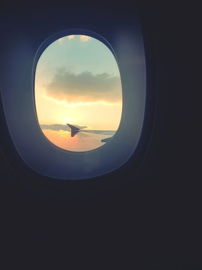 Window Sky Looking Through Window Silhouette Indoors  Cloud - Sky Vacations Nature ELLIPSE Day No People Journey Life's Journey  Travel FAR AWAY Alone Trip Sun Down Sky Next Day Flying Flying High Plane