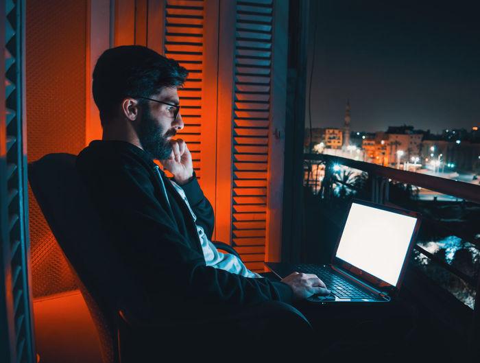 Me using laptop at night - selfie