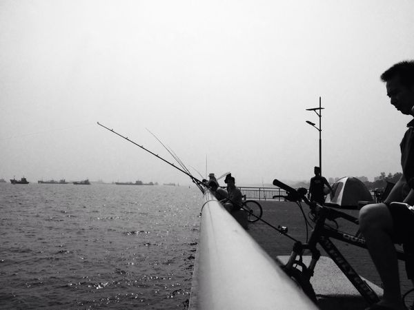 Fishing @ Noon ... Sea Blackandwhite