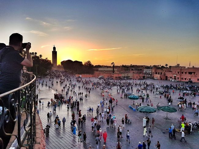 Large Group Of People People Sky Sunset Crowd Jemaa El Fnaa Busy Travel Destinations Morocco Maroc Outdoors Panorama Panoramic View