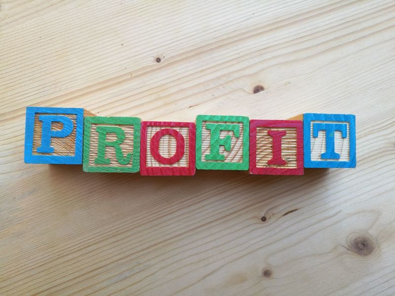 profit written Alphabet Background Benefit Business Concept Economy Financial Idea Investment Letterpress Marketing Multi Colored Profit Success Text Toy Block Wood - Material
