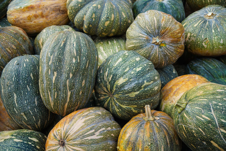 Full frame shot of pumpkins for sale at market