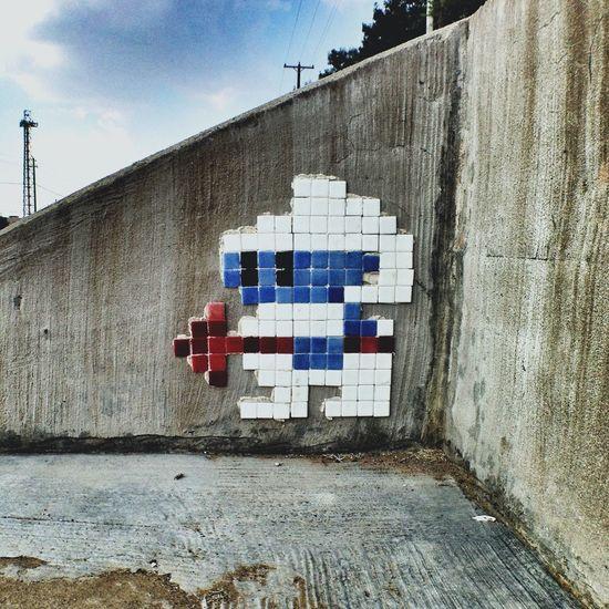 Space Invader - Streetart copycat on Hwy 377. Digdug Oldschool Videogames Streetart Tile Art Texas Urban Art