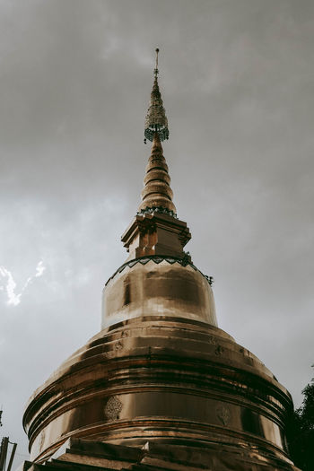 The golden pagoda Low Angle View Built Structure Sky Building Exterior Architecture Belief Religion Cloud - Sky Spirituality Day Outdoors
