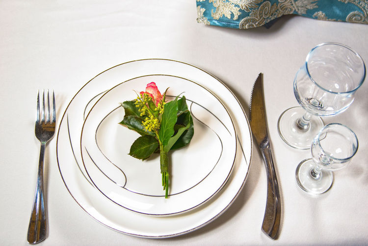 View of meal served on table