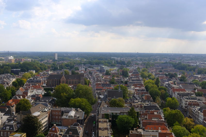 Dom Tower Dom Toren Architecture Building Building Exterior Built Structure City Cityscape Cloud - Sky Day High Angle View Horizon Over Land Landscape Nature No People Outdoors Plant Residential District Sky TOWNSCAPE Tree