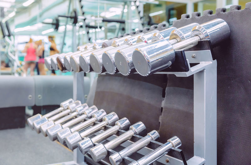 Close-Up Of Dumbbells In Gym
