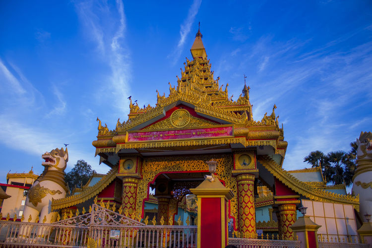 Global Vipassana Pagoda near Gorai Mumbai Architecture Architecture Blue Budha Temple Budhism Budhist Temple Building Exterior Cityscape Global Vipassana Pagoda Gold Gold Colored Gorai Beach Pagoda Pagoda Building Pagoda Gorai Pagoda India Pagoda Temple Place Of Worship Religion Sky Sky With Clouds Statue