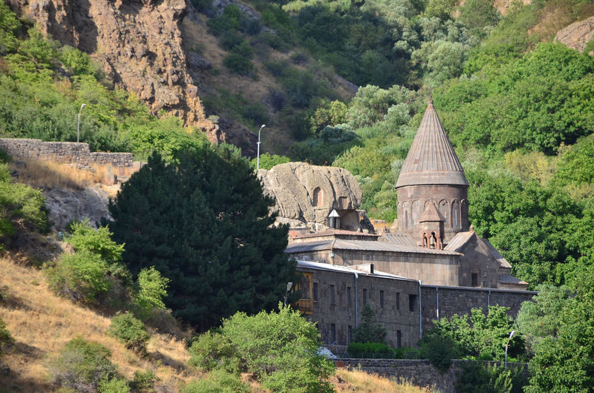 Armenia Geghard Geghard Monastery Spirituality Architecture Beauty In Nature Building Exterior Built Structure Day History Landscape Mountain Nature No People Old Ruin Oriental Orthodox Church Outdoors Religion Travel Destinations Tree W-armenien