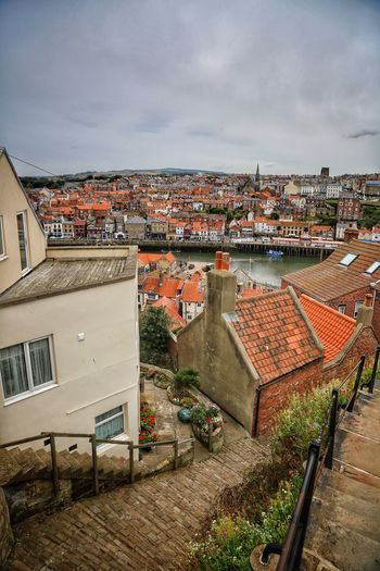 Whitby Whitby Whitby Abbey Architecture Building Exterior Built Structure City Building High Angle View Roof Cloud - Sky Sky Residential District Nature Cityscape Crowded Crowd Town House Day TOWNSCAPE Community Outdoors Roof Tile