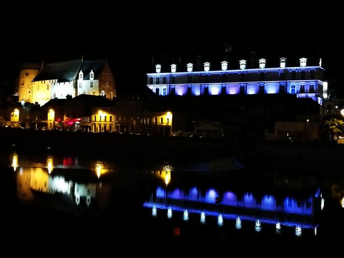 Night Illuminated Building Exterior Outdoors No People Architecture Water Cityscape City Laval Light In The Darkness light and reflection River Midleage Monuments Castles Medieval Architecture