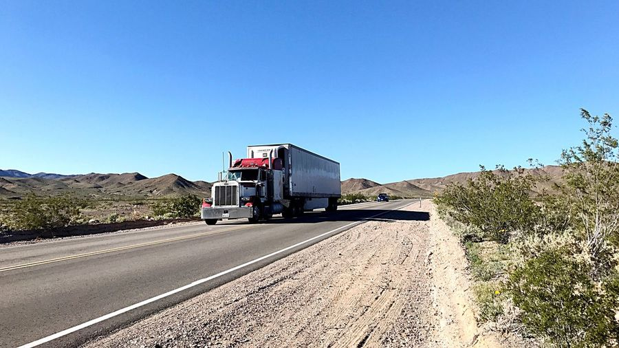 Blue Clear Sky Travel Road Highway No People Day Outdoors Speed Sky Nature Truck Highways Desert Roadtrip
