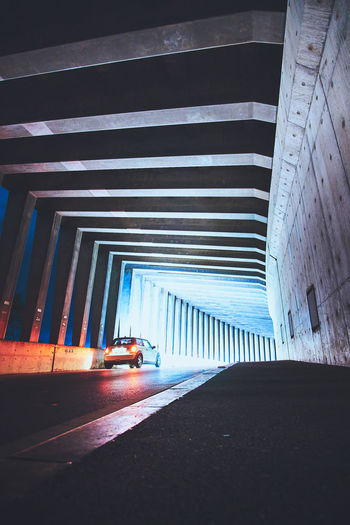 Cars on road in tunnel