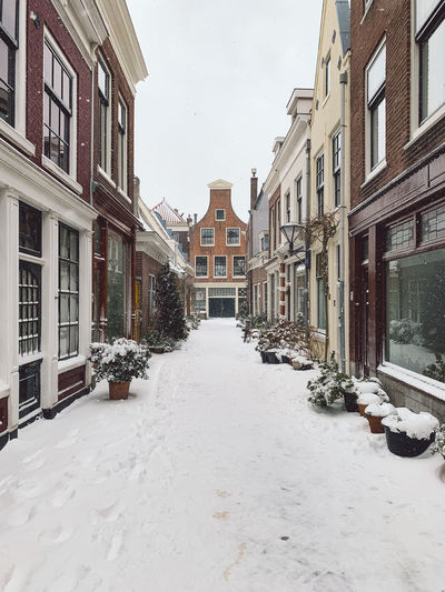 Snow covered street amidst houses and buildings in city