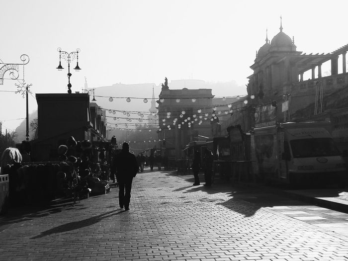 Street Silhouette City Outdoors Budapest Hungary Blackandwhite Streetphotography Architecture Market Light Bulb Atmospheric Mood