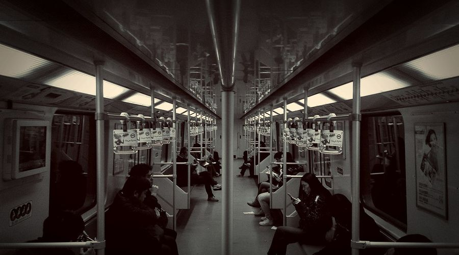 In the metro. Cellphone Photography Shanghai Cityscapes EyeEm Best Shots - Black + White Battle Of The Cities