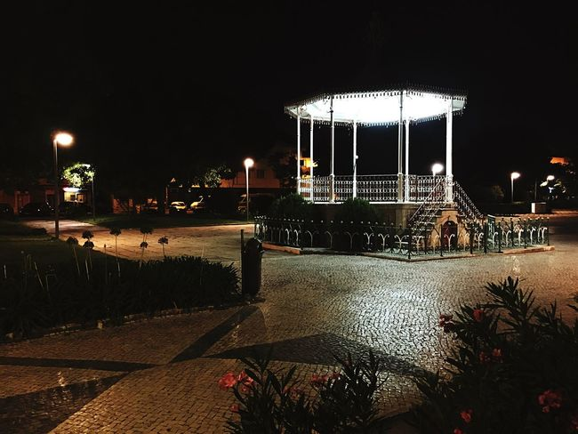 Traditional Sidewalk Portuguese Sidewalk Bandstand Illuminated Night Sky Nature Architecture Arts Culture And Entertainment Built Structure No People Outdoors Street Lighting Equipment Park Building Exterior Park - Man Made Space Outdoor Play Equipment City Clear Sky
