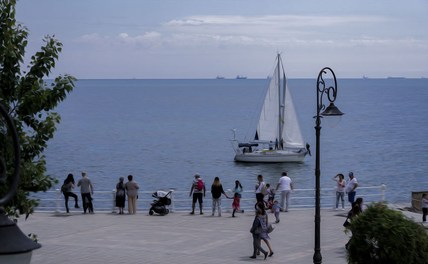 Blue Crowd Day Group Of People Horizon Over Water Large Group Of People Leisure Activity Lifestyles Men Nature Nautical Vessel Outdoors Real People Scenics - Nature Sea Seascape Seaside Sky Summer ☀ Transportation Travel Water Women