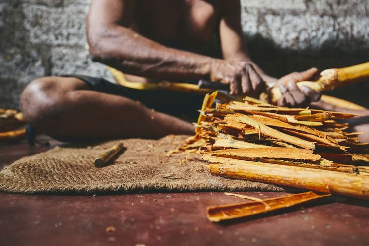 Hands of the man preparing cinnamon sticks. Manual worker in Sri Lanka. Working Work Hard Work Manual Worker Worker Men Hand Handmade Sri Lanka Cinnamon Production Business Agriculture Stick Farmer Workshop Preparation  Seasoning Spice Workplace Ingredient Manufacturing One Person Real People Poverty
