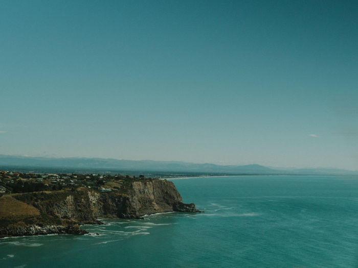 Scenic view of sea and clear sky