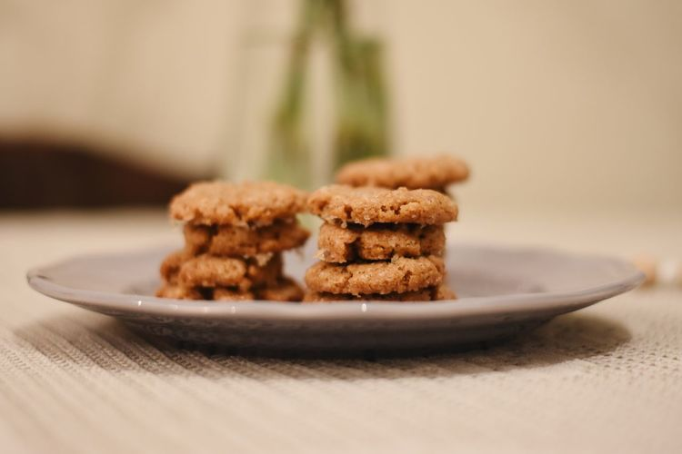 Close-up of cookies in plate on table