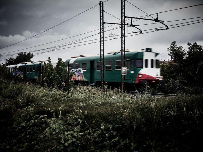 Classe Emiliaromagna Train Italia Trainspotting Railway Rail Wires Rainy RainyDay Land Vehicle Cable Public Transportation Sky Grass
