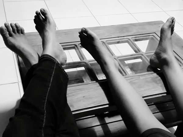 Indoors  People Real People Human Body Part Resting Feet On The Table Black And White Tired Feet EyeEmNewHere