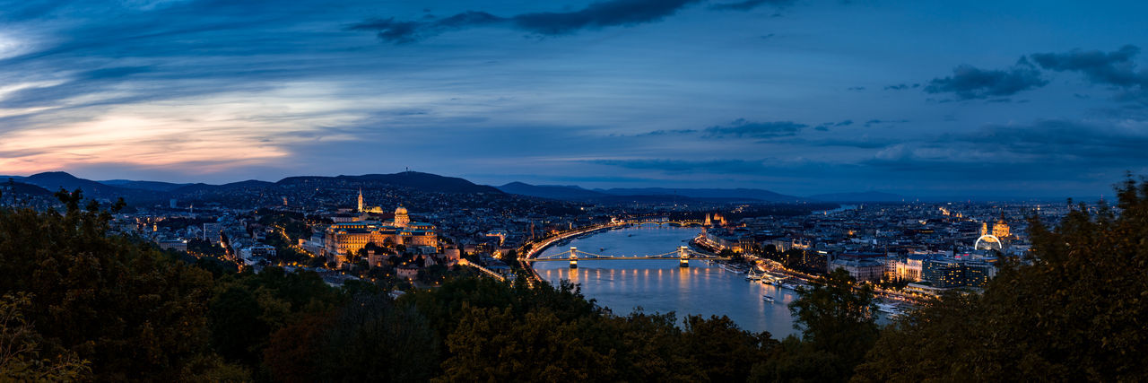 The castle of buda and illuminated bridge over river in city