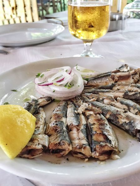 Food And Drink Plate Food Freshness Serving Size Seafood Table Healthy Eating Appetizer Beer Sardine Sardines Fish