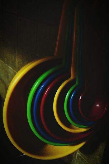 Spoon Cake Cooking Bakery Instruments Multi Colored Variation Cooking Spoon Time!  Colors Blue Red Green Color Yellow Countainer Background Variations Randomshot Cucharas Circles In Circles Pattern, Texture, Shape And Form No People