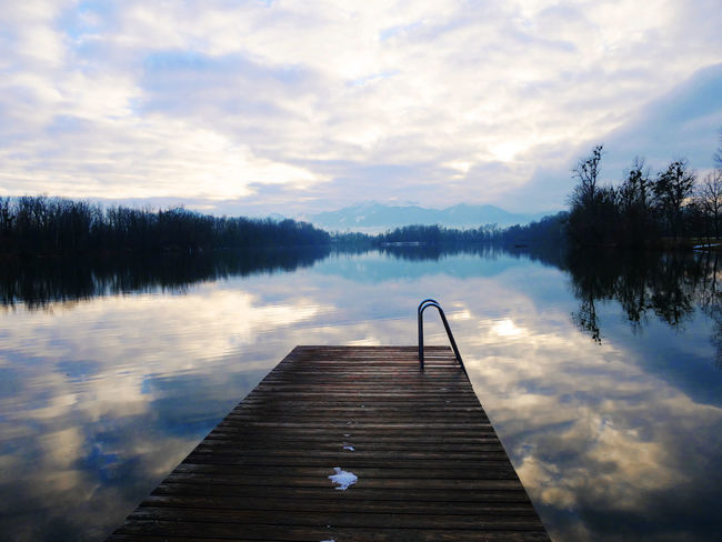 Lake View Series Reflection Beauty In Nature Cloud - Sky Day Jetty Jetty View Lake Nature No People Outdoors Pier Scenics Sky Tranquil Scene Tranquility Tree Water Wood - Material Wood Paneling