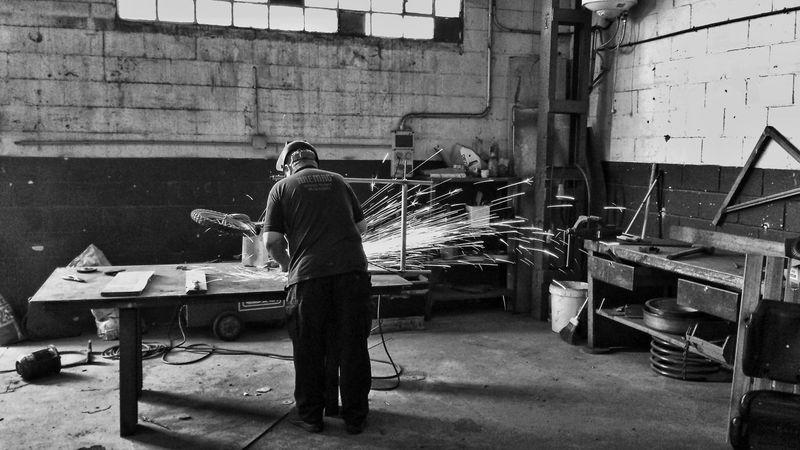 Black And White Blacksmith  Weld Welding Work Welding An Iron Structure Soldador Welding Herrería Herrero