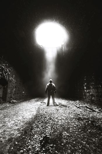 Tunnel Light Shafts Of Sunlight Shaft Surreal Full Length People One Person Adult Adults Only Only Men Night One Man Only Outdoors