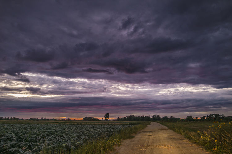 Scenic view of agricultural field against dramatic sky