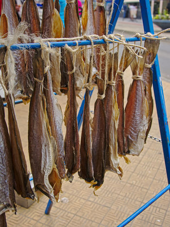 Stockfish hanging for sale on a fish market inn Ostend, Flanders, Belgium Seafood Stockfish Dried Fish  Dried Food Drying Fish Fishing Food Food And Drink For Sale Freshness Hanging Market Market Stall Ostend Seafood
